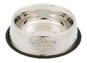 stainless steel dog bowl - hammered finish