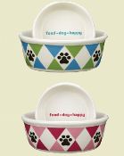 Ceramic Argyle Dog Bowls