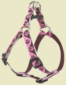 brown and pink paw pattern step in dog harness