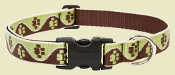 brown and green paw pattern collar