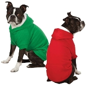 Red and green fleece dog hoodie