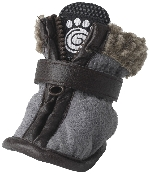 gray suede dog boots