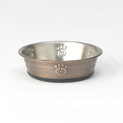 bronze swirl paw dog bowl