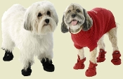 red or black fleece dog boots