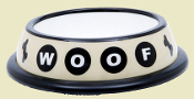 Plastic Woof Dog Bowl